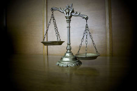Symbol of law and justice on the table, law and justice concept photo