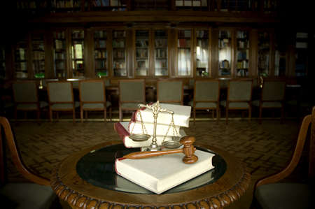 court judge: Symbol of law and justice in the library, law and justice concept