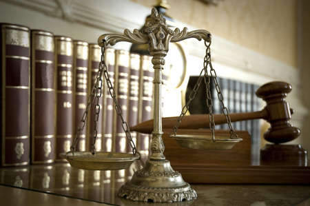 trial: Symbol of law and justice, law and justice concept, focus on the scales Stock Photo