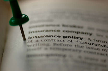 Dictionary definition of insurance policy  Close-up view, with paper textures