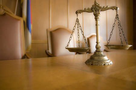 antique weight scale: Symbol of law and justice, law and justice concept, focus on the scales Stock Photo
