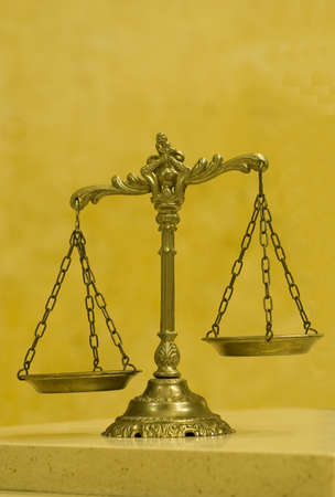Symbol of law and justice , law and justice concept, yellow tone