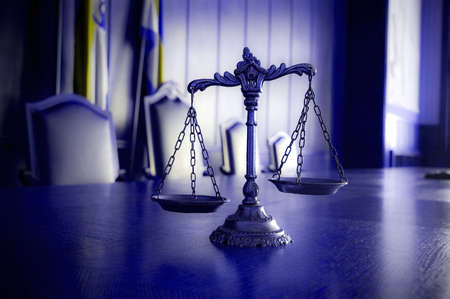 Symbol of law and justice in the empty courtroom, law and justice concept, blue tone Reklamní fotografie