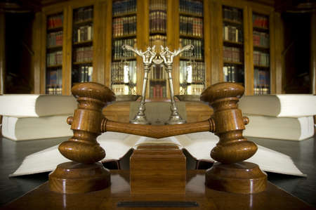 Symbol of law and justice in the library, law and justice concept photo