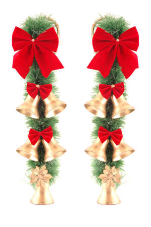 Christmas decorations on the white background