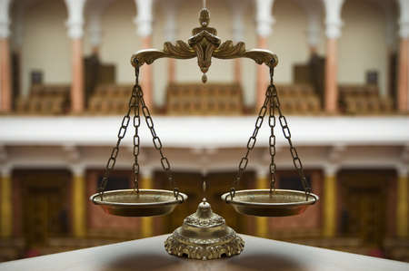 Symbol of law and justice in the empty courtroom, law and justice concept Stock Photo - 16356044