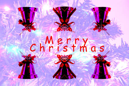 Abstract Christmas with red bells on the blured background Stock Photo - 16451939