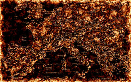 topographical: Ilustration of Crisis in Europe  Burning old map as a symbol of social riots in Eurozone  Stock Photo
