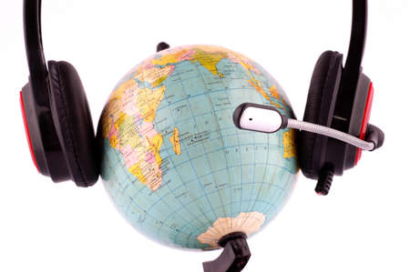 Concept of global communication with headphone and globe