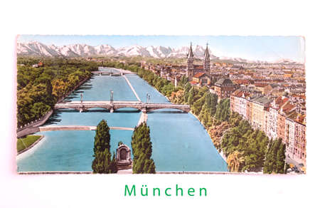 Post card city of Munich from 1972. View of the Isar and the mountains Editorial
