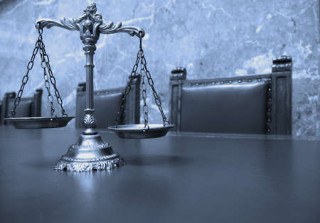 Symbol of law and justice, law and justice concept, blue tone Stock Photo