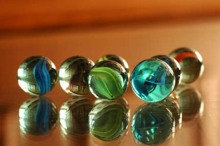 A lot of colorful marbles - close up, soft focus