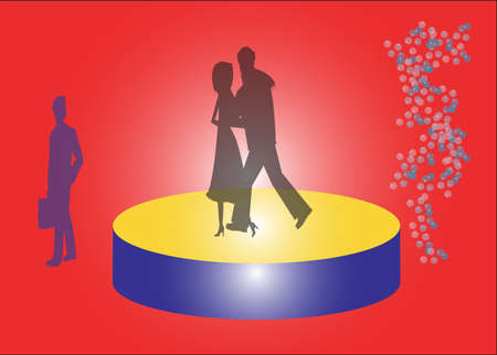 Silhouette of a couple dancing on the podium Vector