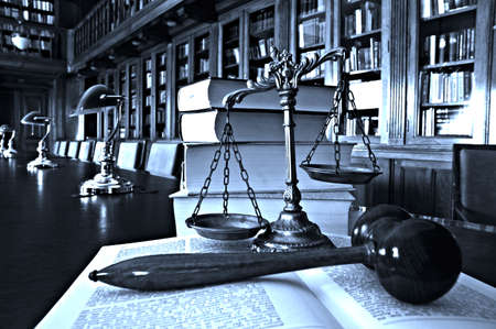Symbol of law and justice in the library, law and justice concept, blue tone