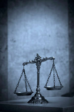 Symbol of law and justice, law and justice concept, BLUE TONE photo