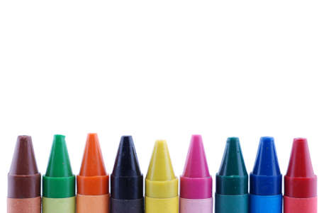 Colorful of pencil crayons on the white background