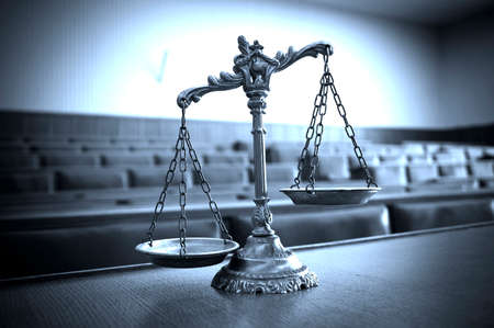 antique weight scale: Symbol of law and justice in the empty courtroom, law and justice concept, blue tone Stock Photo