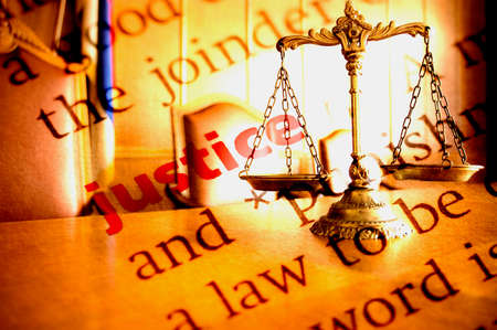 Dictionary definition of Justice and Decorative Scales of Justice Stock Photo - 24635179