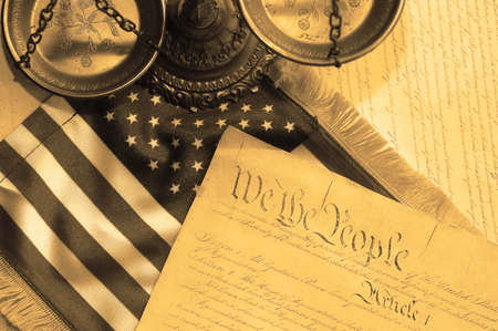 United States Constitution, scales of justice and flag Stock Photo