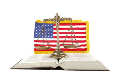 Decorative Scales of Justice, book and American flag on white background photo