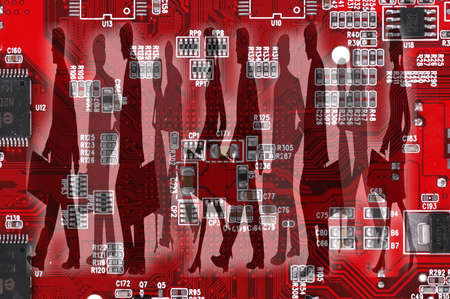 main board: Silhouette of business people on the red motherboard (main board), business concept