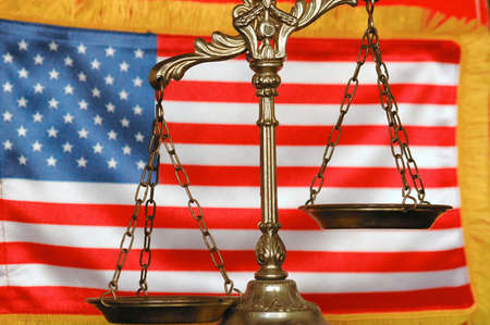 Decorative Scales of Justice and American flag background photo