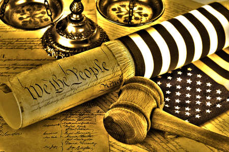 United States Constitution, gavel, scales of justice and flag, HDR image Stock Photo
