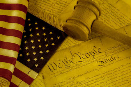constitution: United States Constitution, gavel and American flag, SEPIA TONE Stock Photo