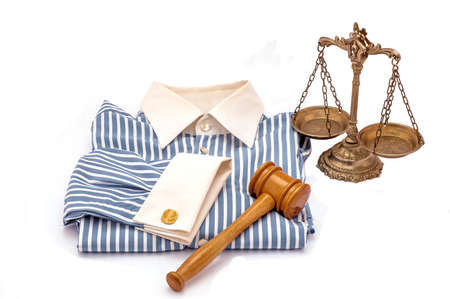 antique scales: Blue and white cotton shirt, wooden gavel and scales of justice on white background Stock Photo