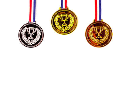 gold silver bronze: Gold, silver, bronze blank award medals on shite background