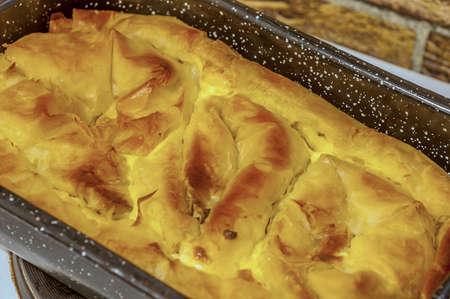 serbian: Serbian Traditional Cheese Pie In Baking Pan placed, SELECITVE FOCUS