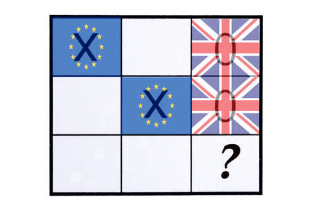 x country: EU and United Kingdom flag on the board of Tic Tac Toe Game, concept of Brexit referendum