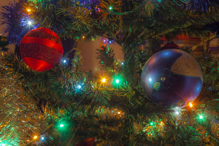Christmas tree with decoration, close-up Stock Photo