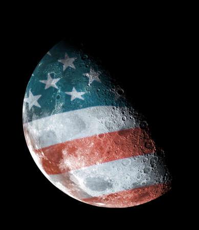 Half moon on a backgroound United States flag