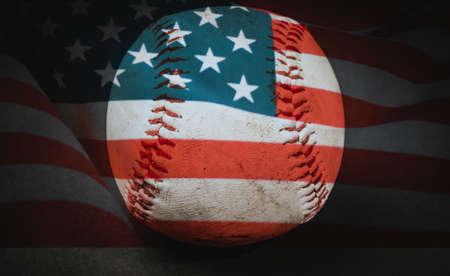 homerun: Baseball with United States flag on the dark background