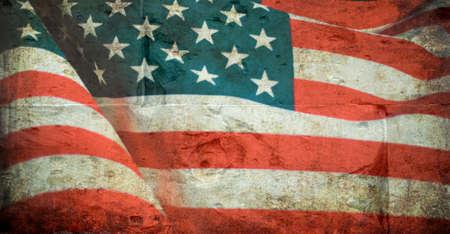 United States flag on the grunge wall background Stock Photo