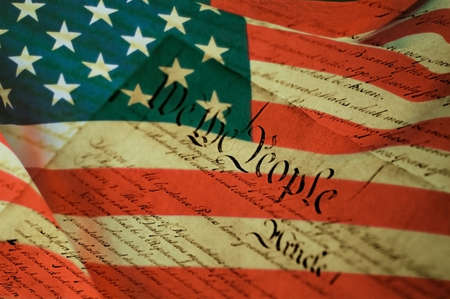 declaration: Declaration of Independence and United States flag Stock Photo