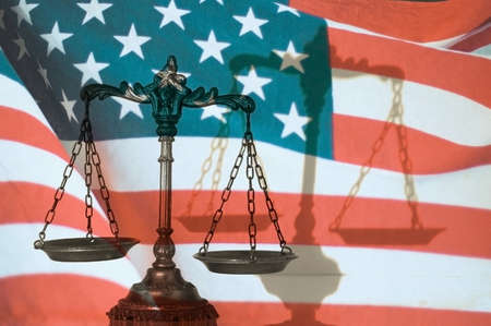Symbol of law and justice with shadow, United States flag background, law and justice concept Stock Photo