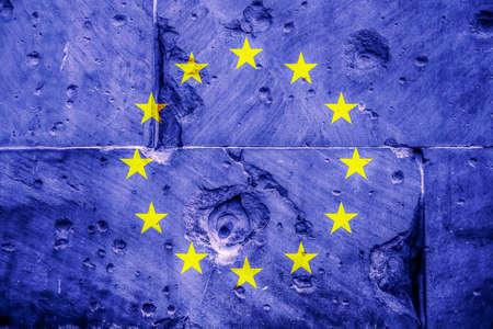 European Union flag on the stone wall Stock Photo