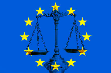 Scales of justice on the european union flag Stock Photo