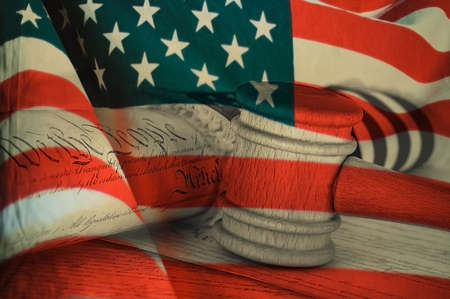 United States Declaration of Independence, gavel and american flag Stock Photo