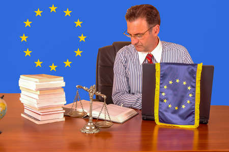 European union lawyer working in the office Stock Photo