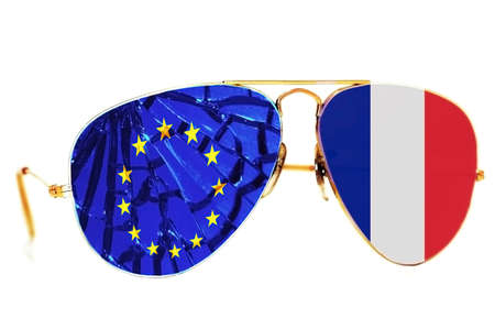 Brocken sunglasses with the flag of France and the European Union Stock Photo