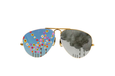 sunglasses with a factory chimney that throws flowers and smoke Stock Photo