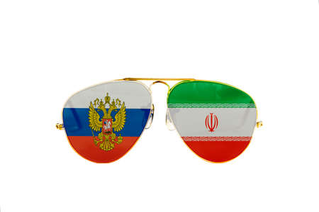 sunglasses with the flag of Russia and Iran