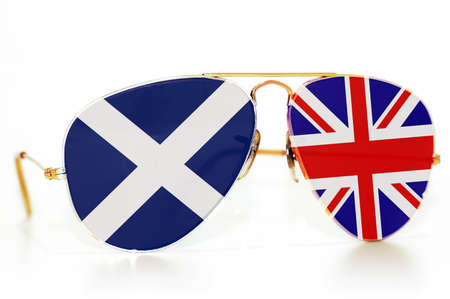 Sunglasses with the flag of Scotland and the Great Britain Stock Photo