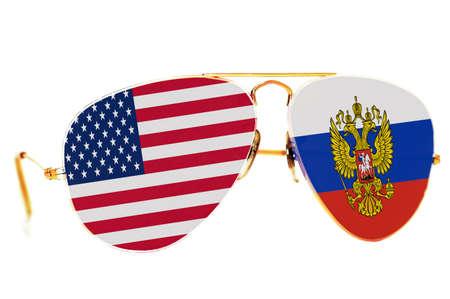 러시아와 미국의 국기가있는 선글라스
