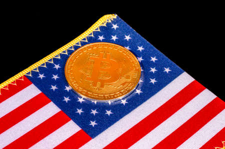 Bitcoin currency on the United States flag
