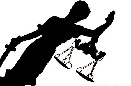 Black silhouette of Lady Justice on the white background