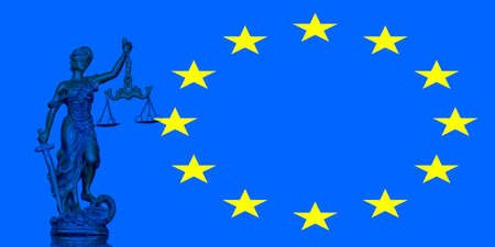 Statue of Justice on the European Union flag